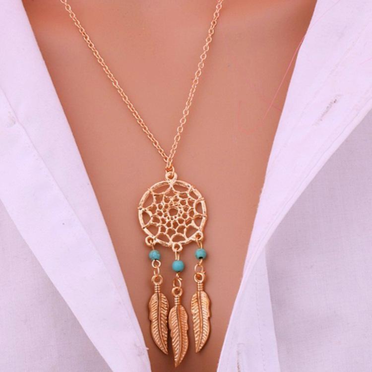 À la mode Dreamcatcher Pendentif Mandala Lotus Colliers pour femmes Vintage Or Plume Dream Catcher Bijoux Partie Accessoires
