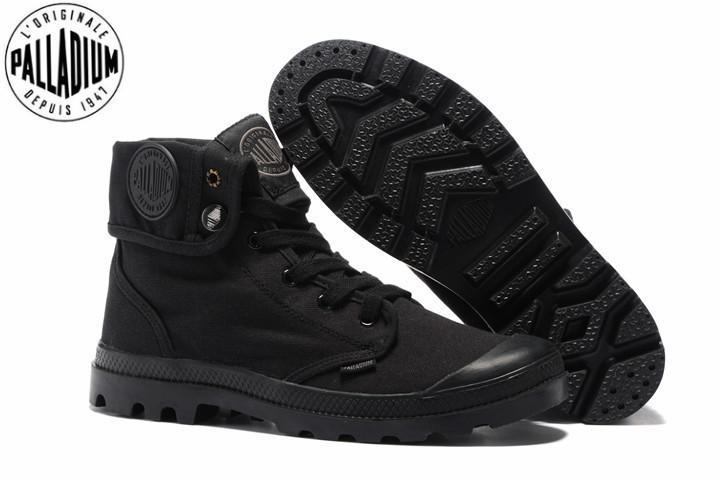 PALLADIUM Pallabrouse Todo Negro zapatillas de deporte de los hombres del Alto-top del tobillo botas militares de lona de los zapatos ocasionales de los hombres de los zapatos ocasionales Eur Tamaño 39-45 T200110