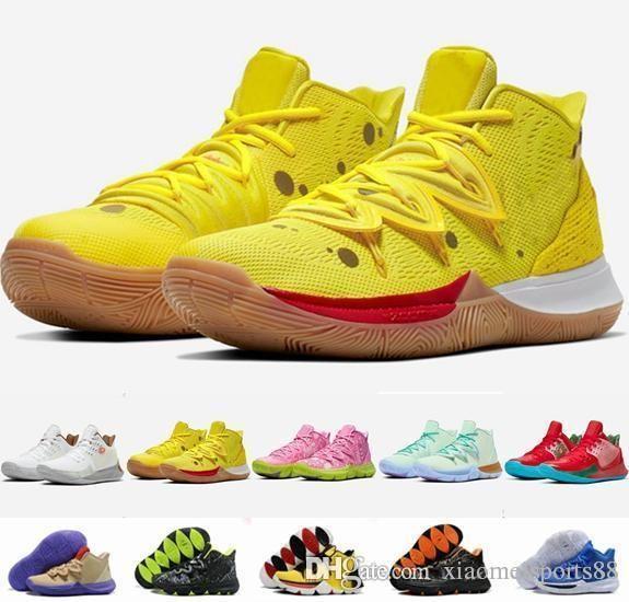 Новые дети прибытия Кирие обувь TV PE Баскетбол обувь 5 для дешевого 20-летия Губки х Ирвинга 5S V Five Sports тапки