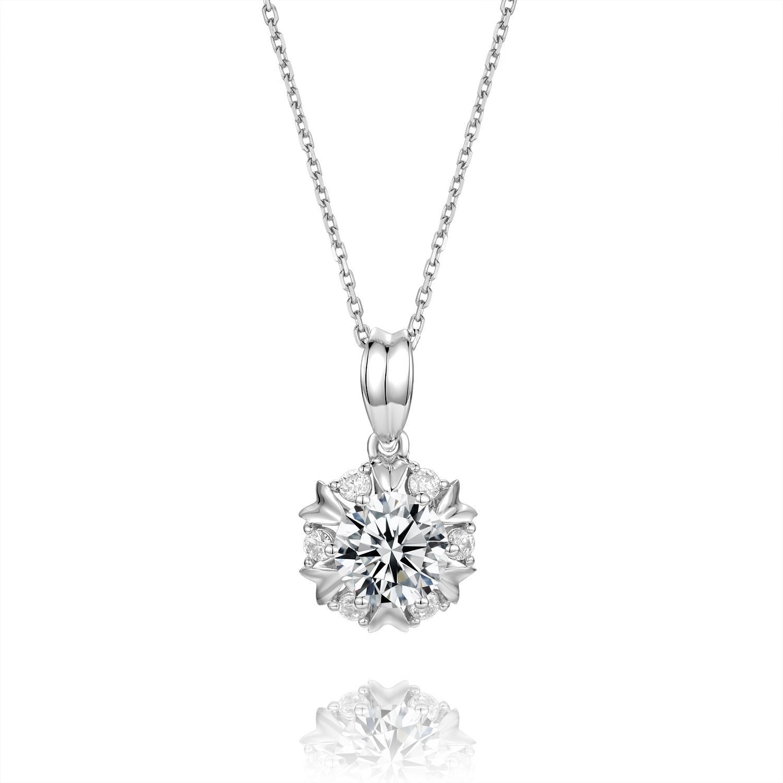 Фабрика на заказе Нового ожерелье Муассанит алмазы 18K белого Real чистого золота Ожерелья для женщин engament Fine Jewelry Бесплатную доставку