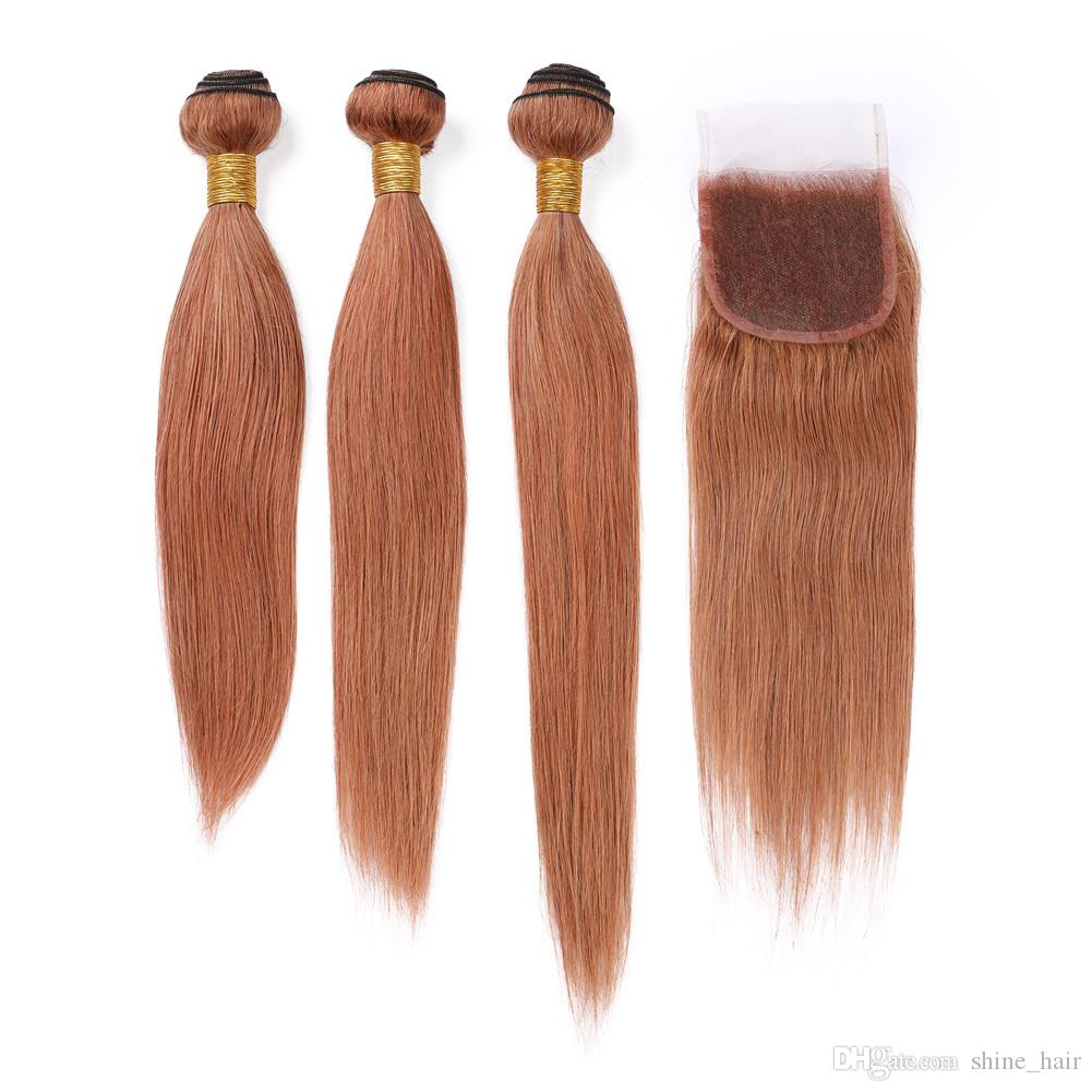 """Malaysian Auburn Human Hair Weaves with Closure Straight 3Bundles and Closure Pure 30 Medium Auburn Lace Closure 4x4"""" with Weaves Extensions"""