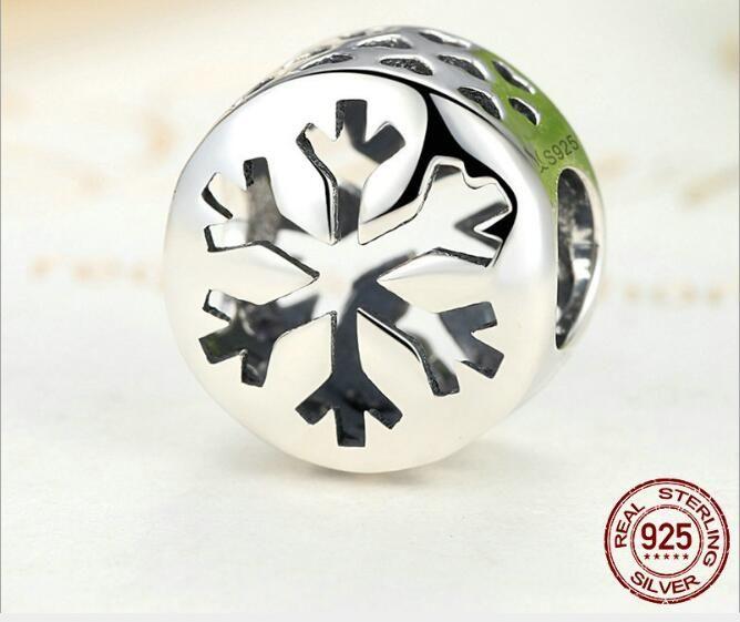 Moda autêntica 925 encantos de prata Pierced neve para DIY pulseiras, colares da prata Natal diamante solto Beads para amante da jóia Chosy