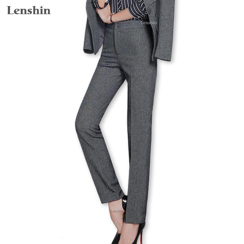 Lenshin Artı boyutu Koyu Gri Telefon Pocket Office Lady Work ile Kadınlar için Biçimsel Pantolon Düz Pantolon İş Wear