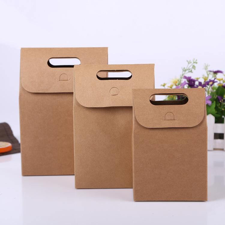 Food bread green kraft paper box gift box folding tote bag kraft handle bag wholesale BG427