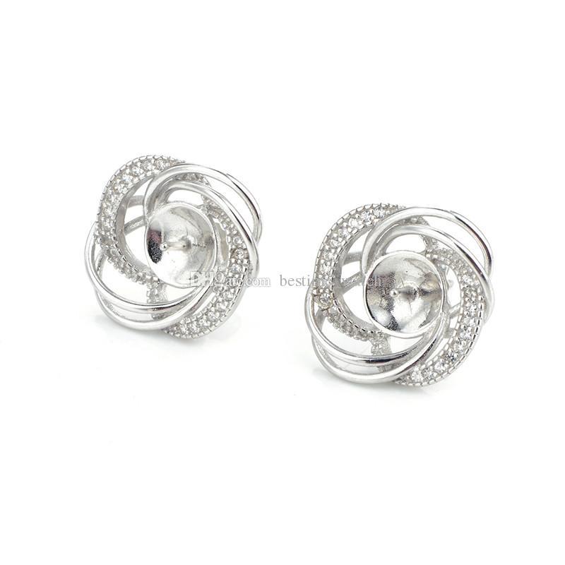 HOPEARL 보석 DIY 귀걸이 설정 럭셔리 디자인 925 스털링 실버 지르콘 꽃 귀걸이 3 쌍 장착
