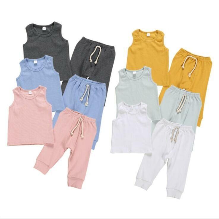 الطفل ملابس الاطفال المادة حفرة الملابس مجموعات بنين بنات صيف بلا أكمام الأعلى سروال بذلات الأطفال الصلبة الصدرية أزياء بوتيك الملابس D825