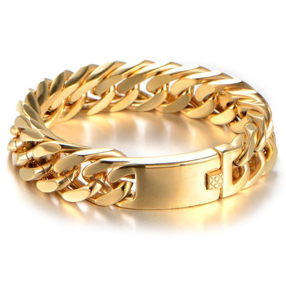 Прохладный мужчины нержавеющая сталь золотой тон браслеты мужская рука запястье цепи 15 мм ширина Снаряженная цепь ссылка браслет мода ювелирные изделия подарок