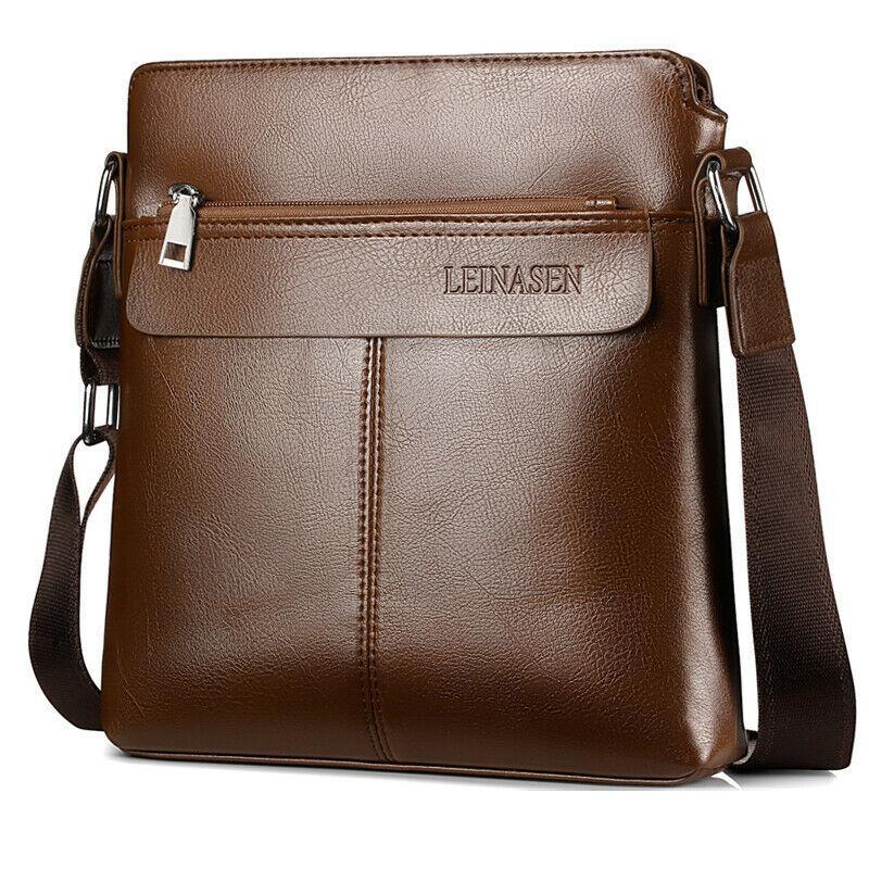 Uomini Vintage Genuine Leather borsa della cartella di affari del messaggero Borsa a tracolla