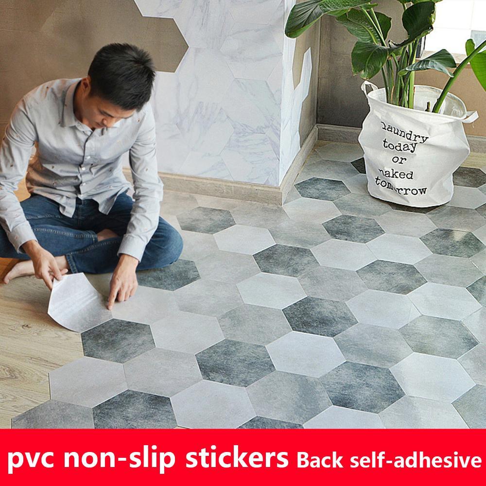 10PCS PVC 방수 욕실 바닥 스티커 껍질 스틱 자체 접착 바닥 타일 주방 거실 장식 비 슬립 데칼