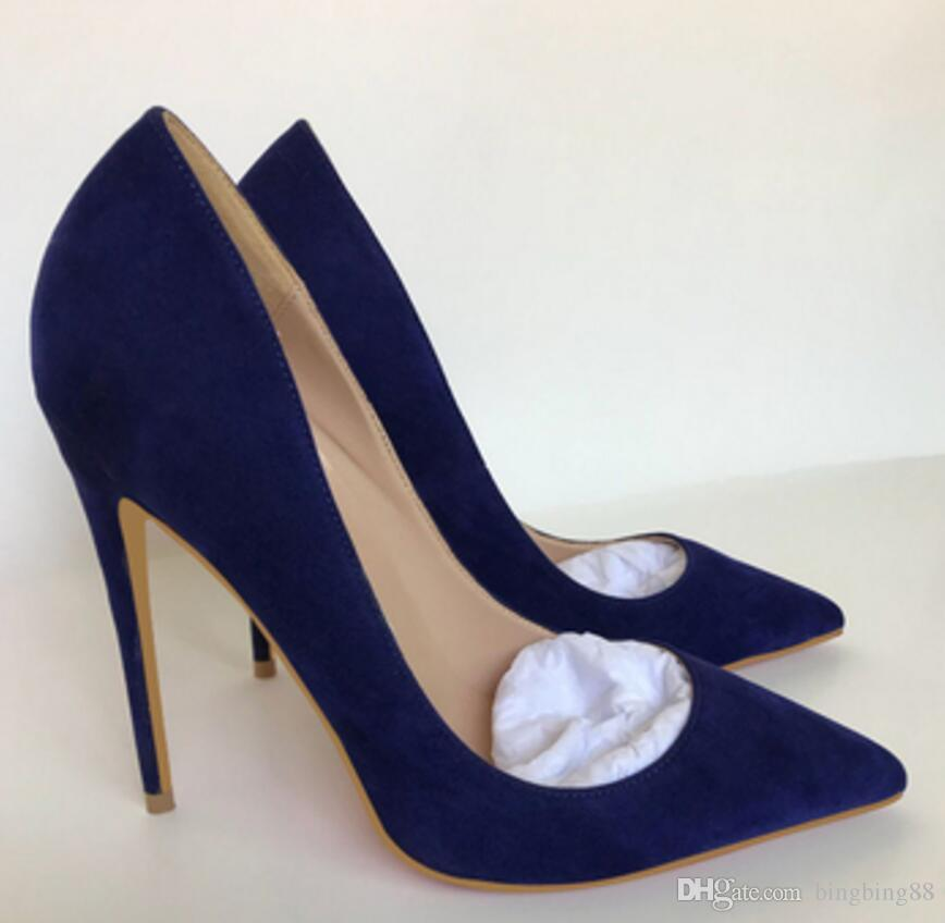 19 green Suede Red bottom Women's High-heeled shoes 8cm 12cm 10cm large size 44 Cusp Fine heel Single shoes Nightclub banquet Wedding blue