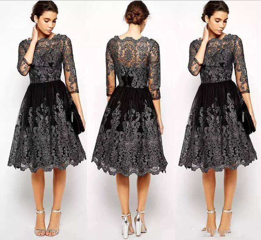 2020 nova preto curto da mãe dos vestidos de noiva apliques de renda mangas compridas na altura do joelho ilusão de casamento convidado vestido de baile de cocktail de noite