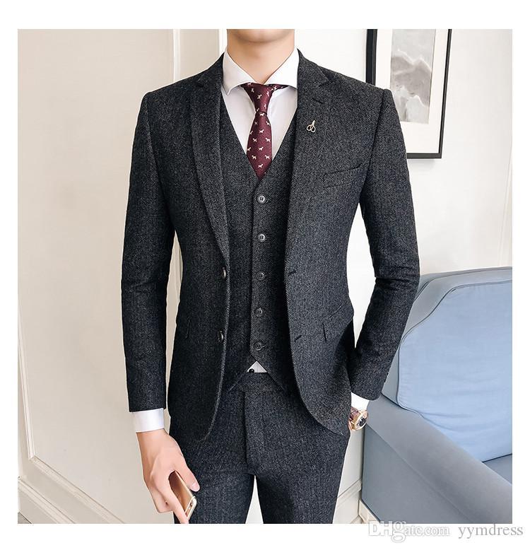 Wool Groom Wear Groomsmen Suits 2019 Modest Slim Fit Mens Business Suit Jacket + Pants + Vest Men's Suits Wedding Suits Groom Dark Grey
