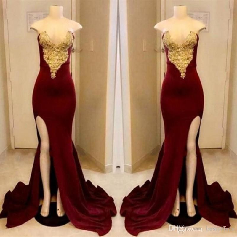 Long Dark Red Prom Dresses 2019 Sexy Strapless Gold Applique With High Slit  Party Dress Floor Length Formal Evening Gowns Prom Dresses 2014 Prom
