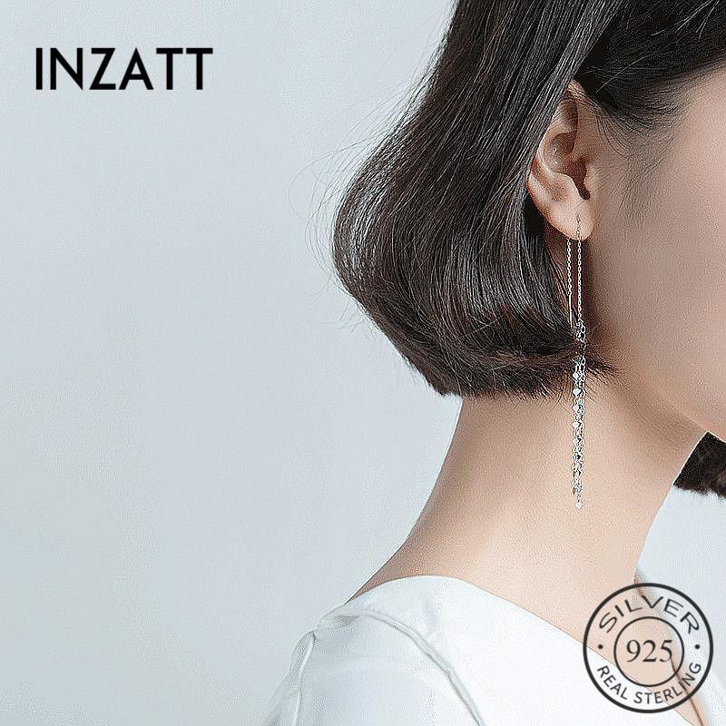 INZATT Bohemia элегантный 3 мм сердце длинные кисточки мотаться серьги падения для женщин Шарм серебро 925 мода ювелирные изделия романтические подарки