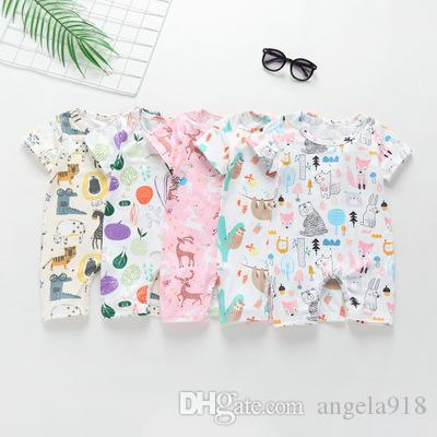 Ins Baby Boy girl Clothes Infant clothing Jumpsuits Cartoon Scrawl slooth fox bear Animals Print Romper Soft Breathable V042
