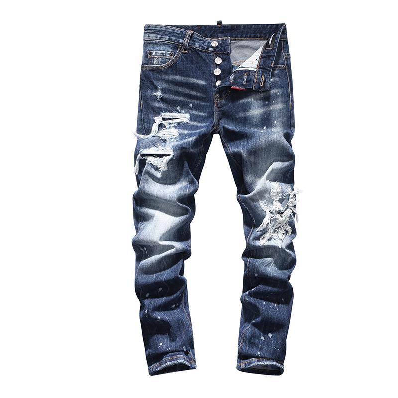 Europäisches Italien Marke gerade Jeanshosen Männer nehmen Herren Jeans Denim-Hose blau Loch Hosen für Männer Reißverschluss