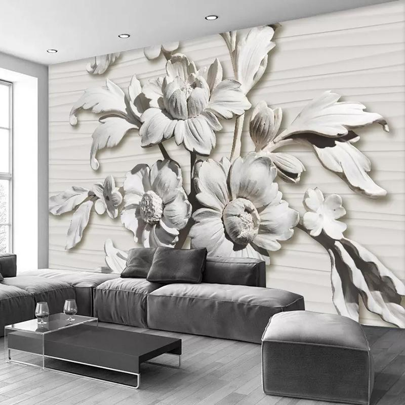 Wall Mural 3D Relief Flowers Photo Wallpaper Living Room Bedroom Abstract  Art Design Wall Papers For Walls 3D Home Decor Custom Any Size Wallpapers  ...
