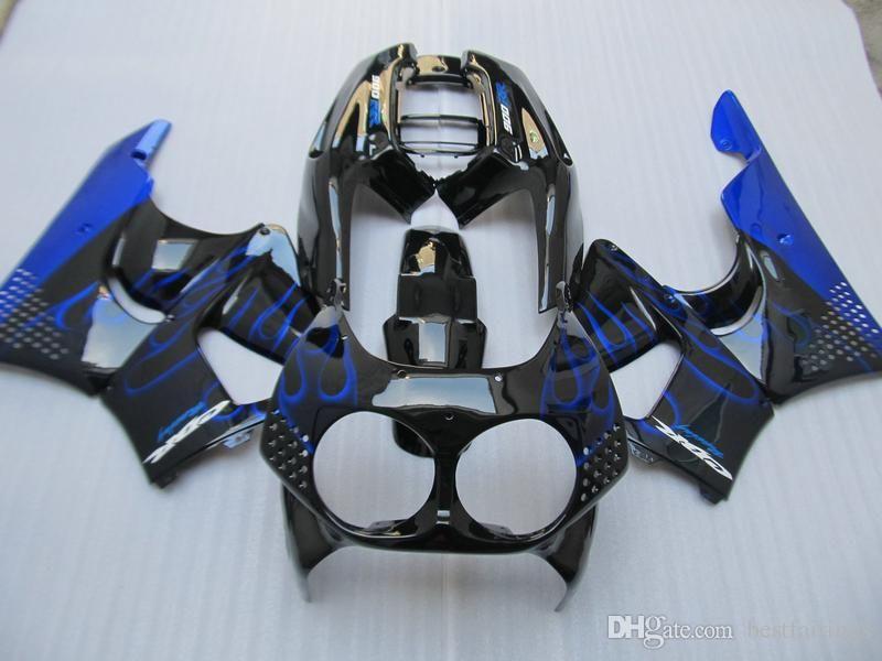 Nuevo kit de carenado Honda CBR900RR CBR 893 1992-1995 llamas azules en carenados negros conjunto CBR 900 RR 09 10 11 EV47