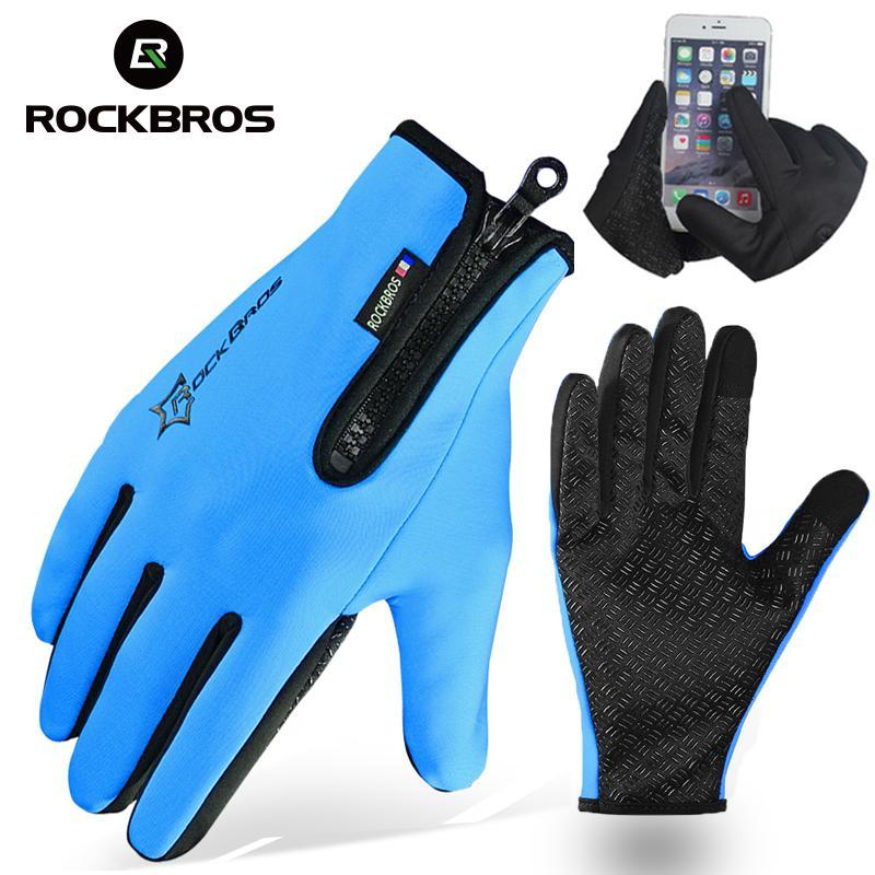 ROCKBROS Велоспорт велосипед Зимние перчатки Руна Тепловое Теплый велосипед Спортивные перчатки Полный Finger телефон перчатки оборудования