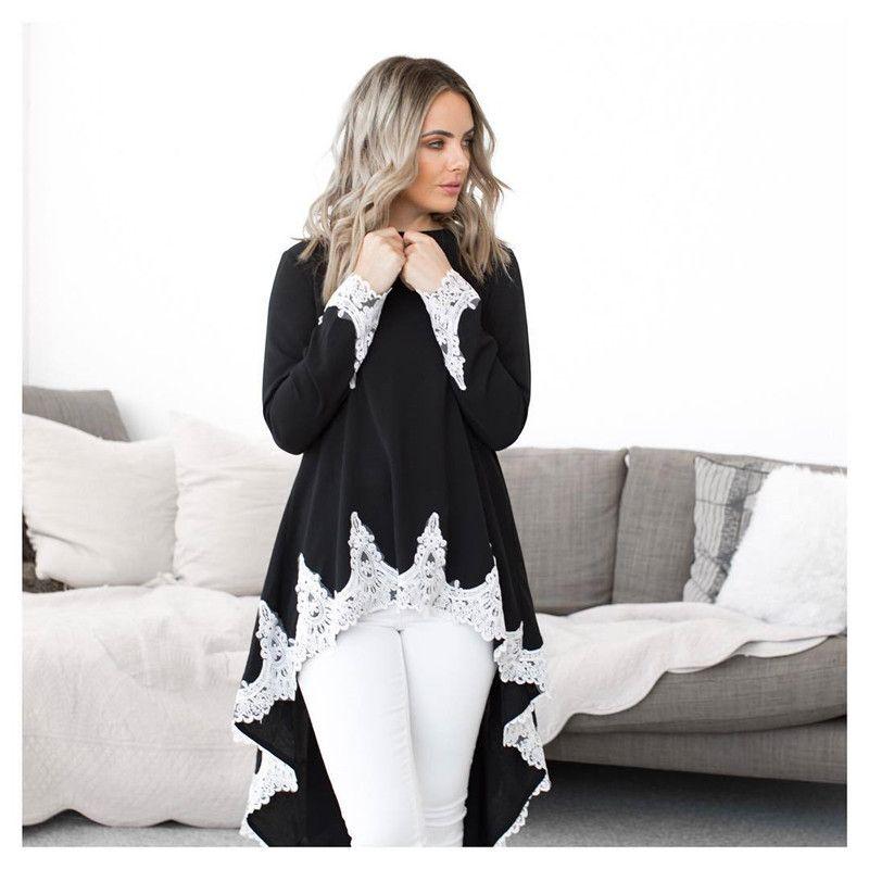 Designer Lace Piping Womens Tshirt Fashion Irregular Long Sleeve Tshirt Short Front and Long Back Clothes