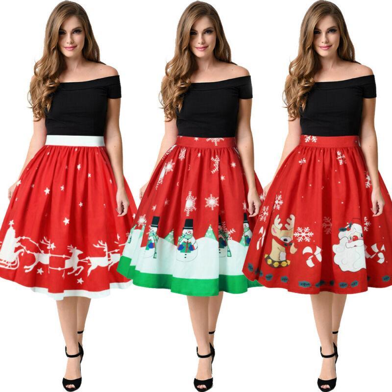 Pudcoco Nouvelle arrivée Femmes Soirée de Noël Imprimer Party Festival de Petty jupe taille haute jupe bulle Père Noël Jupes élégantes