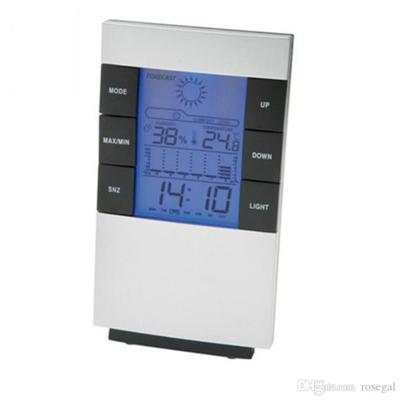 Indicateur électronique de température et d'humidité des ménages avec horloge de temps météo rétro-éclairée