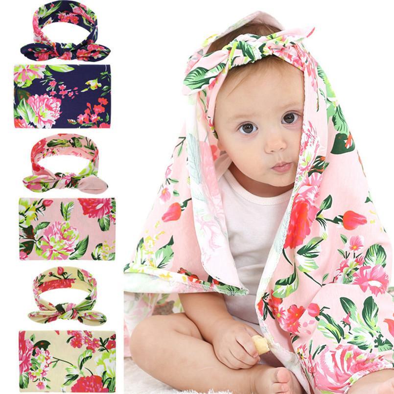 Hot European Newborn Baby Swaddling Blankets Bunny Ears Headbands Infant 2 Piece Set Swaddle Photo Wrap Floral Nursery Bedding gift D3510