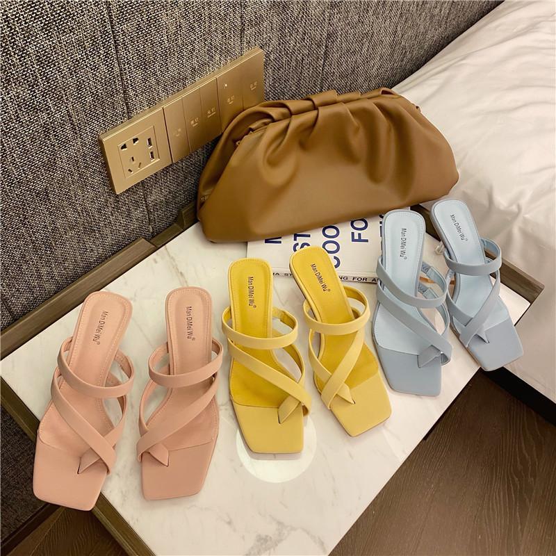 Обувь Дамский Тапочки Med Слайды Тонкие каблуки резиновые Вьетнамки Slipers Женщины Heeled Мулы Shallow Soft Summer