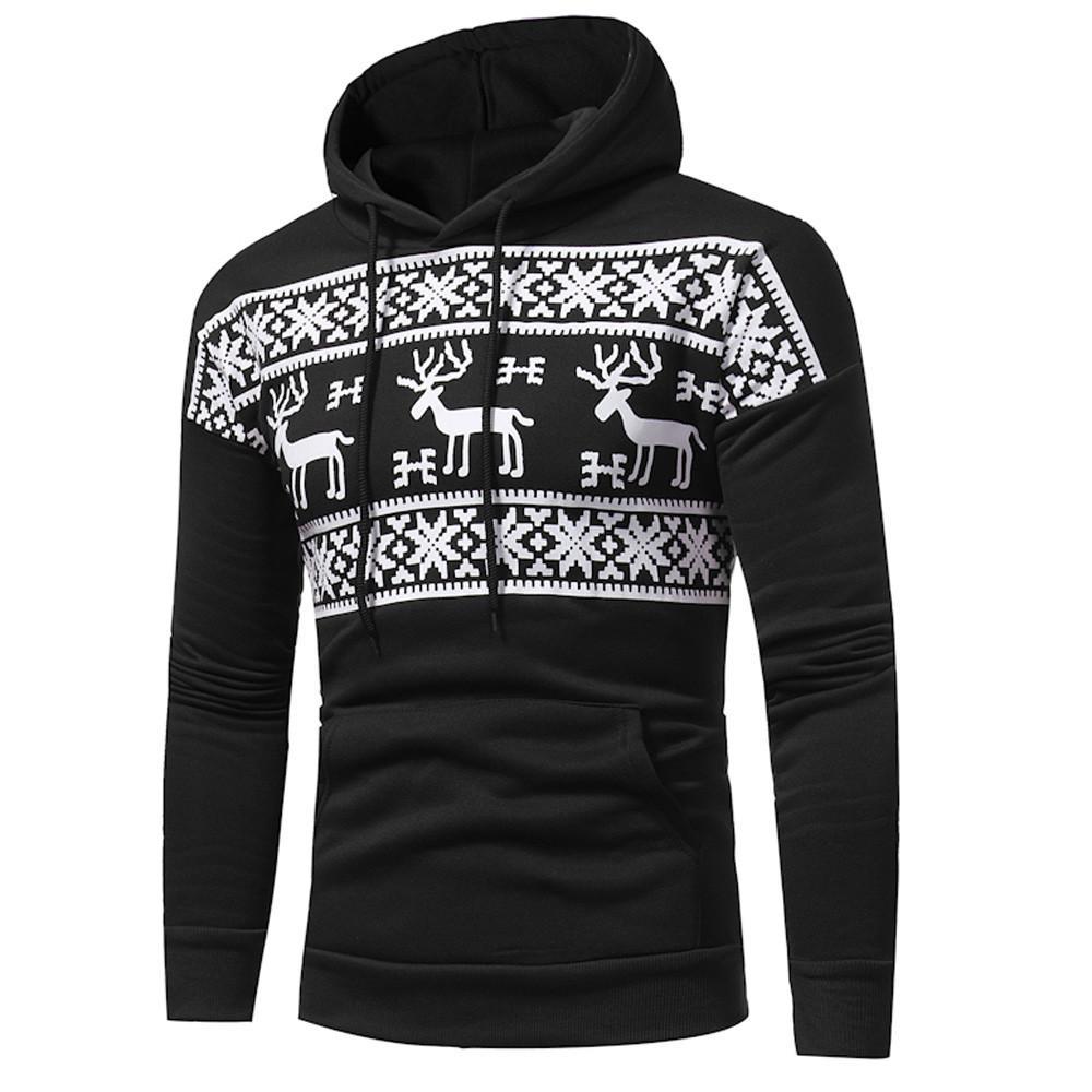 2019 Hoodie dos homens Outono Inverno Cervos Imprimir Camisola Com Capuz Jaqueta de Natal Casaco Outwear L0718
