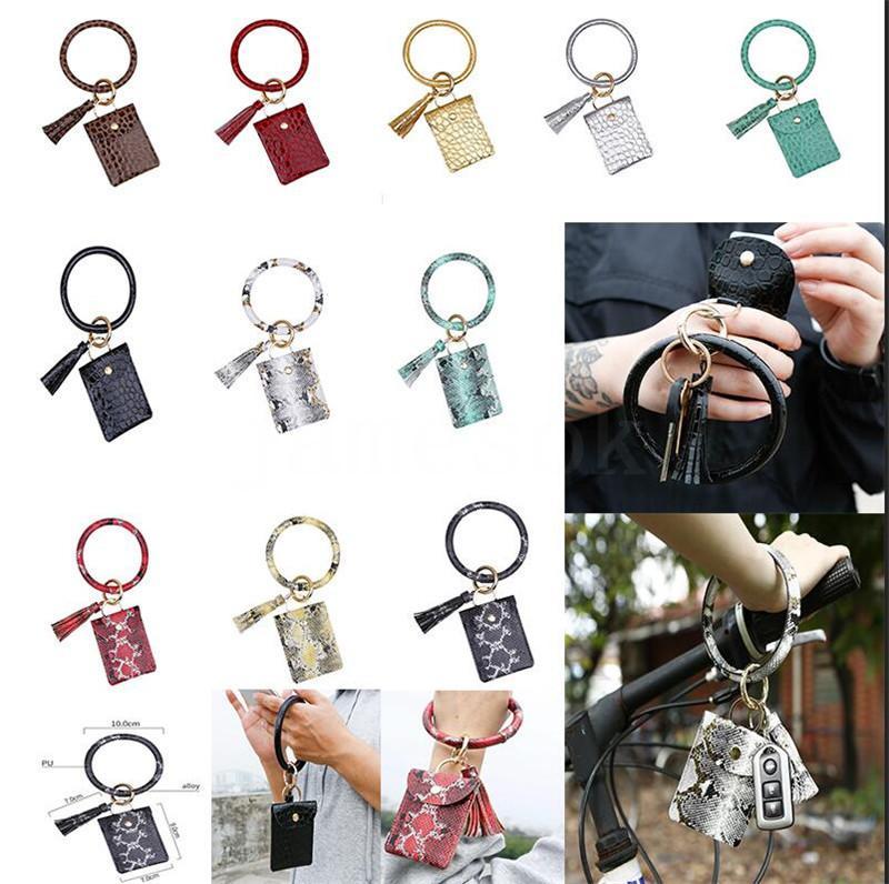 Cartão pulseira Bag Carteira Keychain Wristlet Chaveiro bolsa de couro titular pulseira Cartão de Crédito Chaveiro com Tassel Partido DA528 Favor