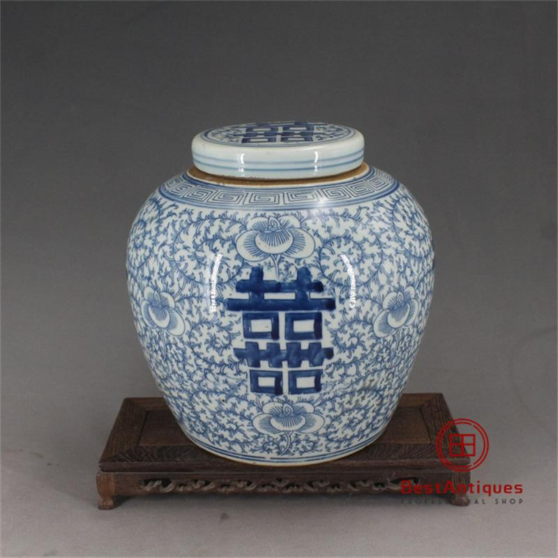 Qing Dynasty Blue and White Peony Wedding Pot Flower Vase Antique Vase Decoration Hand-painted Porcelain Collection Home Decor