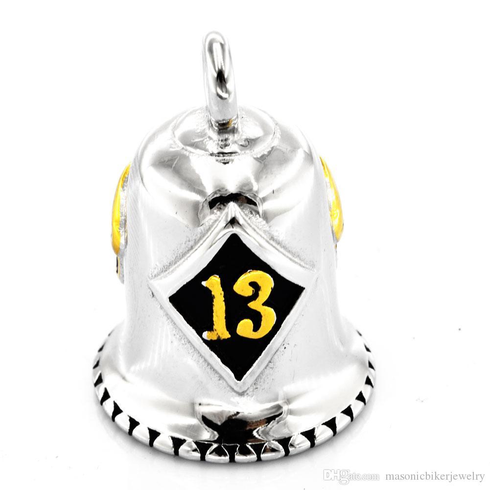 FANSSTEEL Нержавеющая сталь мужские женские панк старинные ювелирные изделия с бриллиантами lucky 13 skull rider bell череп байкер подвеска FSP17W93G
