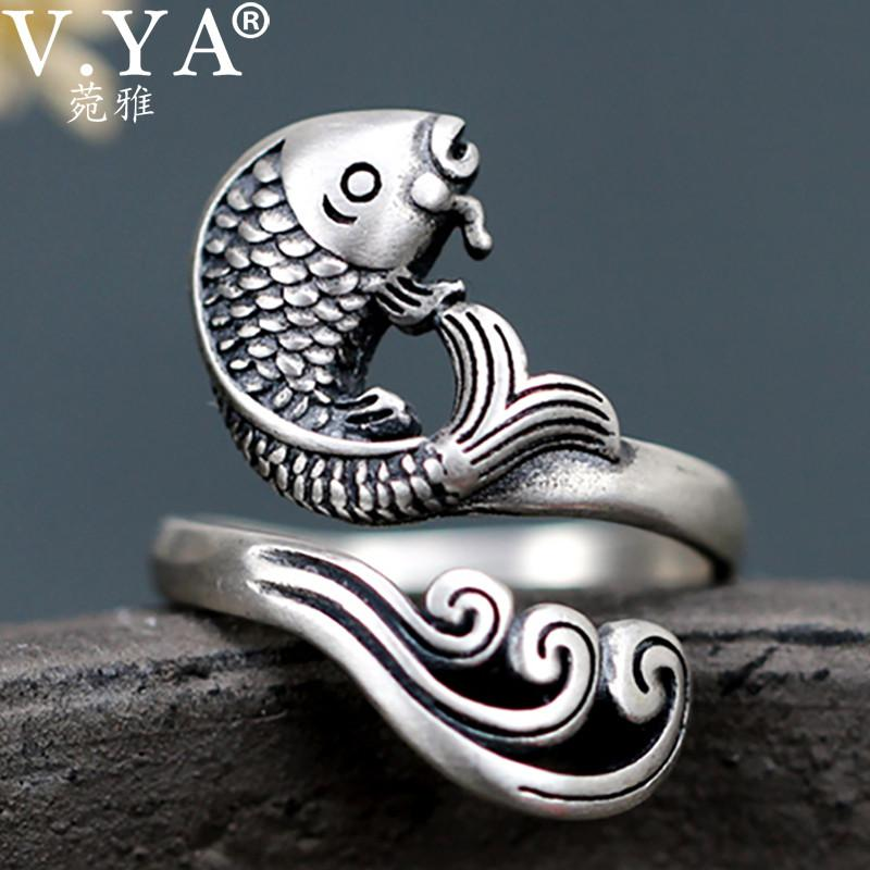 V YA 925 Silver Fish Ring Vintage Animal New Fashion S925 Sterling Silver Rings