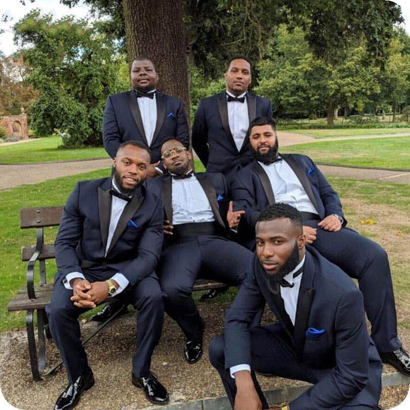 Tute Blu Navy Groomsmen Outfit sposo per gli uomini di nozze smoking Terno Masculino Best Man abbigliamenti trajes de hombre 2Piece Nero visiera design