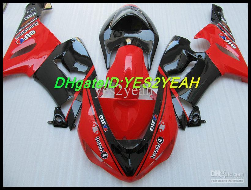 Red Black Fairing Body Kit voor Kawasaki Ninja ZX6R 05 06 ZX-6R 636 Carrosserie ZX 6R 2005 2006 Verklei Set + Geschenken