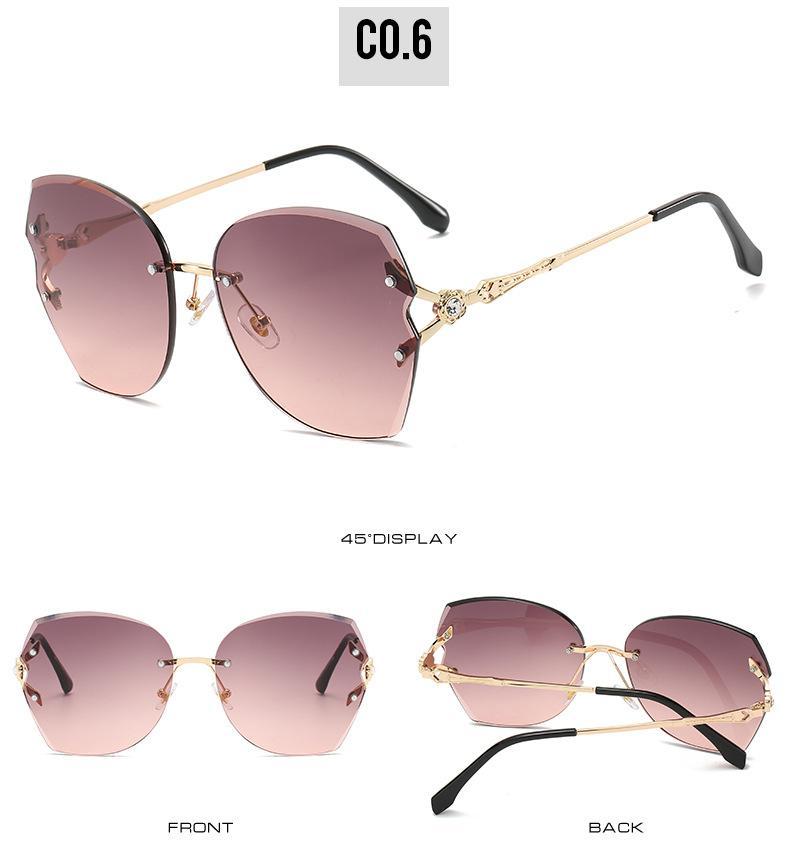 Frameless sunglasse KUJUNY neuen Frauen Sonnenbrille Frameless Sonnenbrillen Ozean Retro Sun Glasses Meer Ferien Tourismus UV-Schutz NErUA