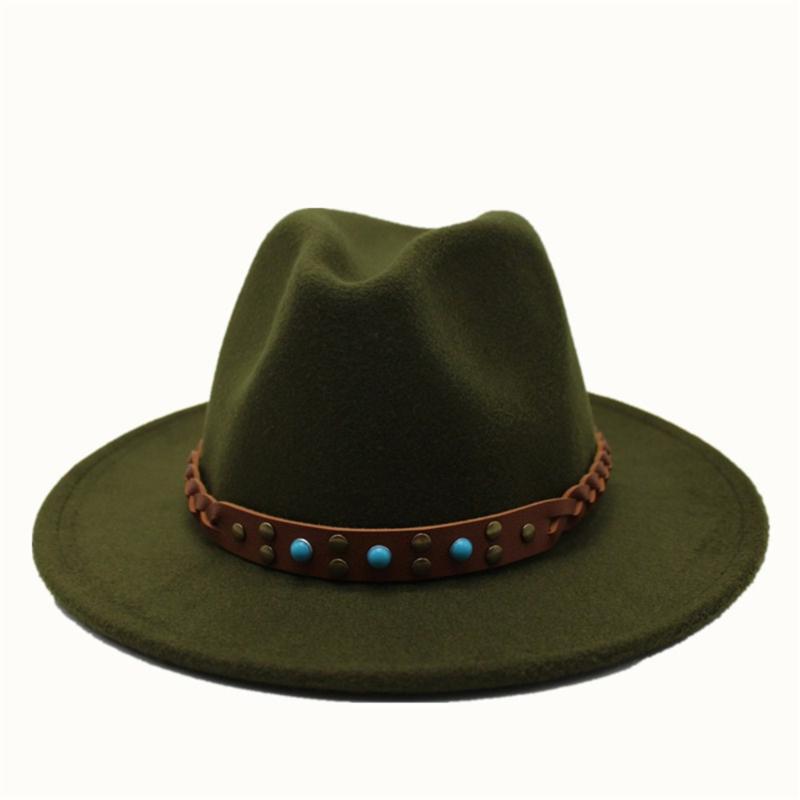 2020 Hombres Mujeres auténtico sombrero de Fedora con cinturón de Panamá gorro de lana sombrero flexible informal 56-58cm Tamaño Salvaje