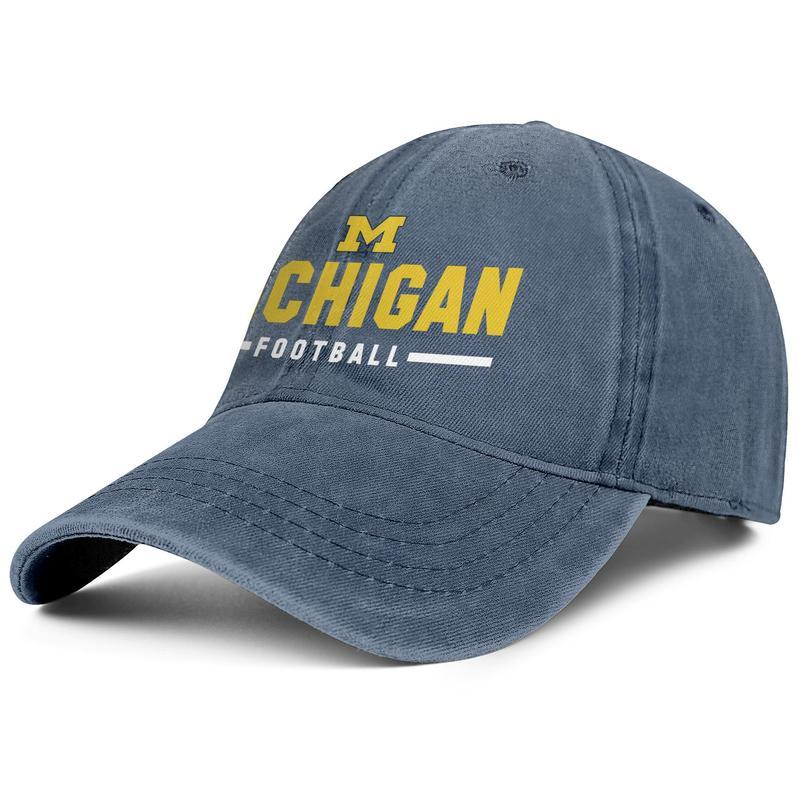 Michigan Wolverines blue mens and women trucker denim cap cool fitted custom sports personalized unique personalised hats Logo football