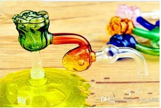 Hookah accessories [rose] head board Wholesale Glass bongs Oil Burner Glass Water Pipes Oil Rigs Smoking Free