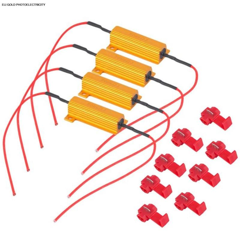 Eli Gold Photoelectricity 4 pcs 50W 6ohm resistor sortidas Kit Car Set LED DRL Nevoeiro Vire carga Singal Resistor pacote