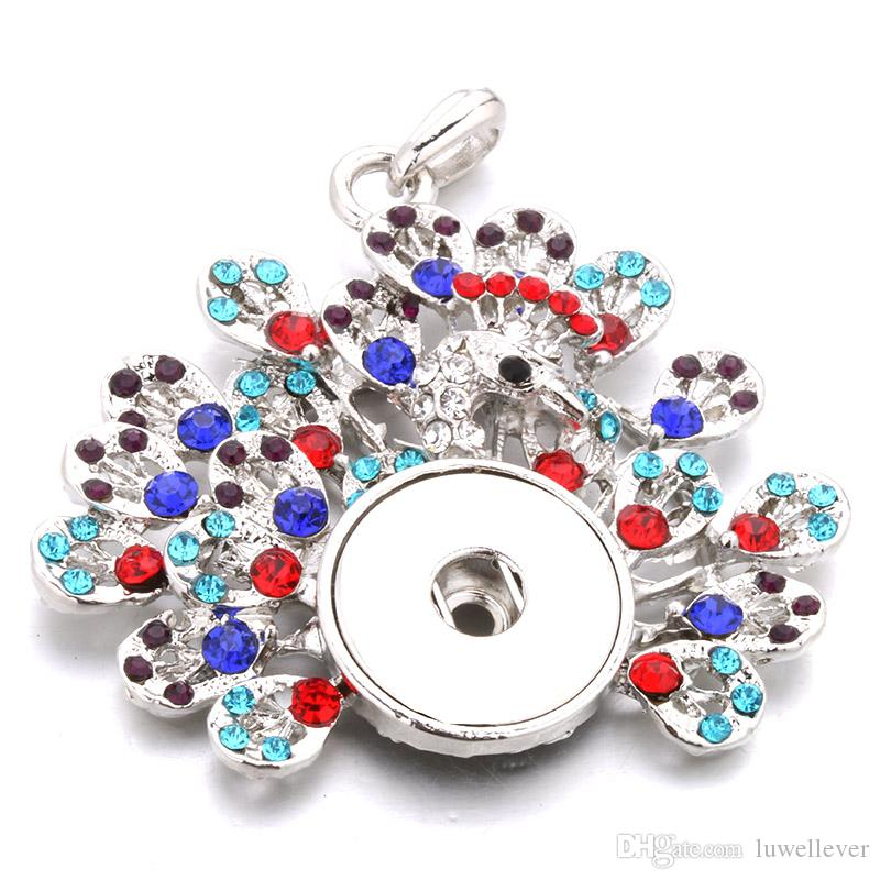 Mode austauschbar Blume Pfau Kristall Ingwer Halskette 274 Fit 18mm Druckknopf Anhänger Halskette Charme Schmuck für Frauen Geschenk