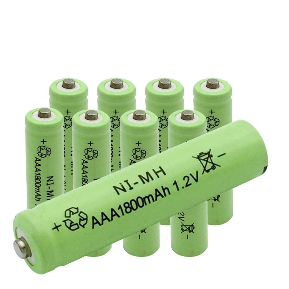 مبيعات الجملة بطاريات AAA بطارية كبيرة بطاريات هيدريد النيكل والمعادن NI-MH بطارية 1800mAh 1.2V الأخضر يمكن استخدامها لمنبه ألعاب