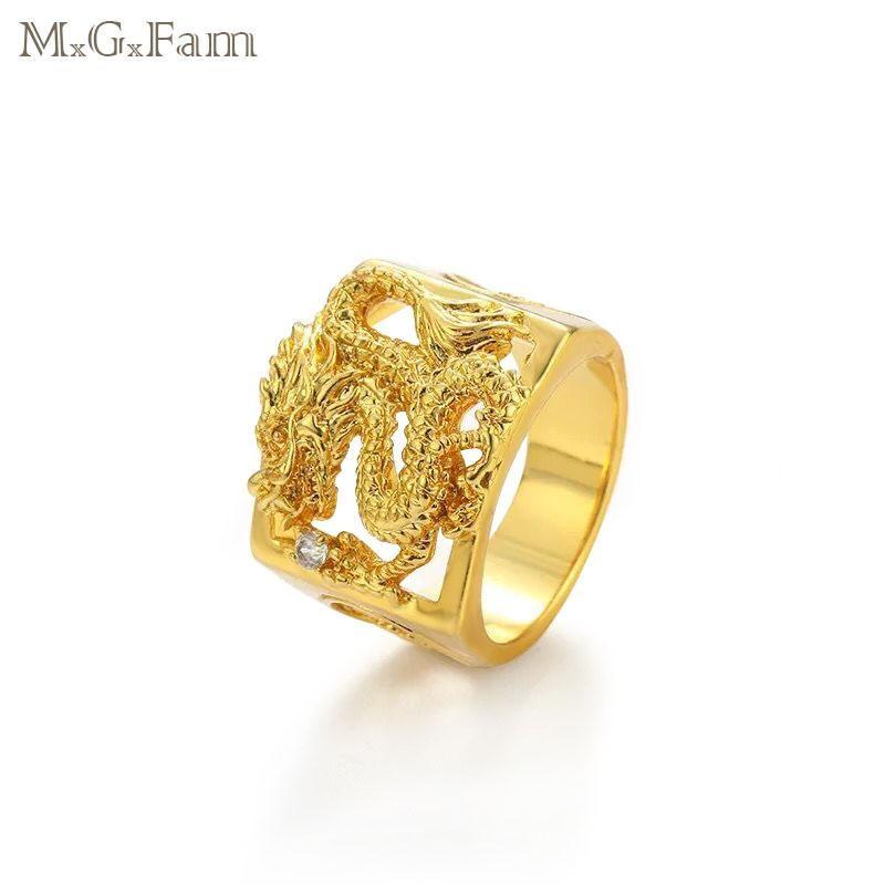 MGFam Anelli di drago per uomini maschili 24 k color oro puro Cina mascotte gioielli in stile nazionale 9/10/11/12 (US)