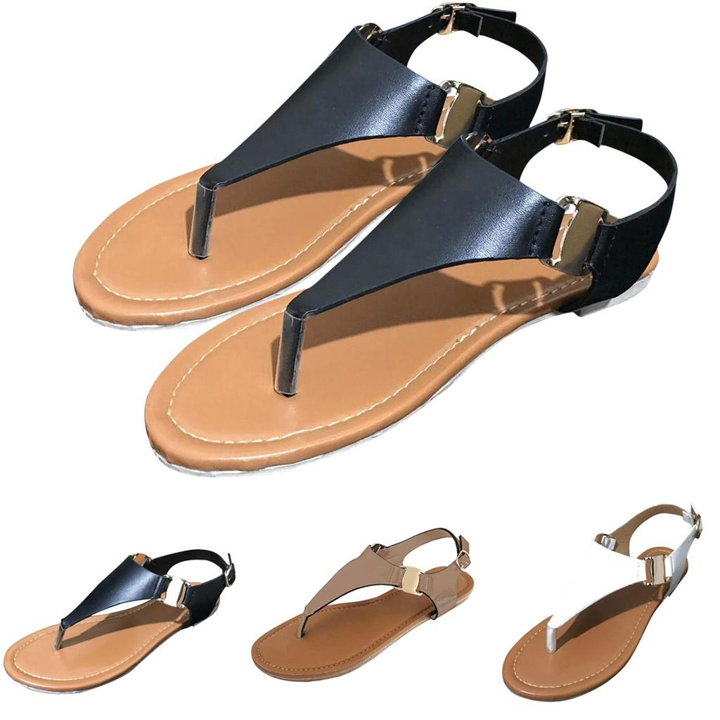 Women Gladiator Sandals Leather Rhinestone Flat Thong Flip Flops Sandals Ankle Strap Buckle Roman Sandals Casual Outdoor Beach Shoes for Women /& Girls