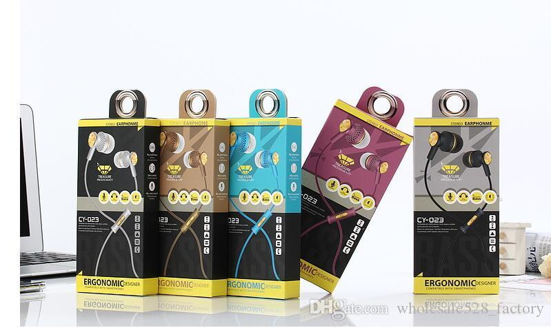 마이크 핫 판매 CY-023 이어폰 핸즈프리 유니버설 3.5MM 인 - 이어 이어폰 이어 버드 헤드폰 스테레오 헤드셋