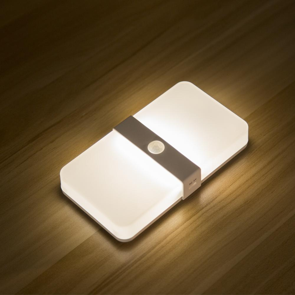 Two color rechargeable Magnetic Motion Sensor led cabinet Light auto on off PIR sensor Wall Lamp bedroom Stairs night Light T200229