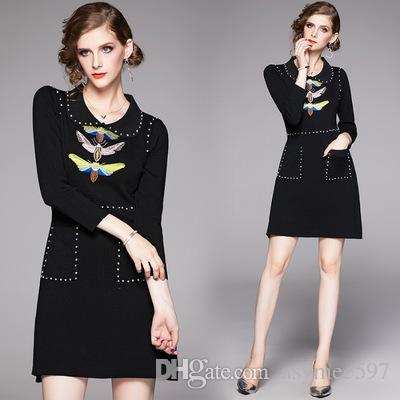 Herbst winter damenmode neue pullover kleid, schönheit polo neck stickerei und perlen casual kleider, taille schließen einen rock