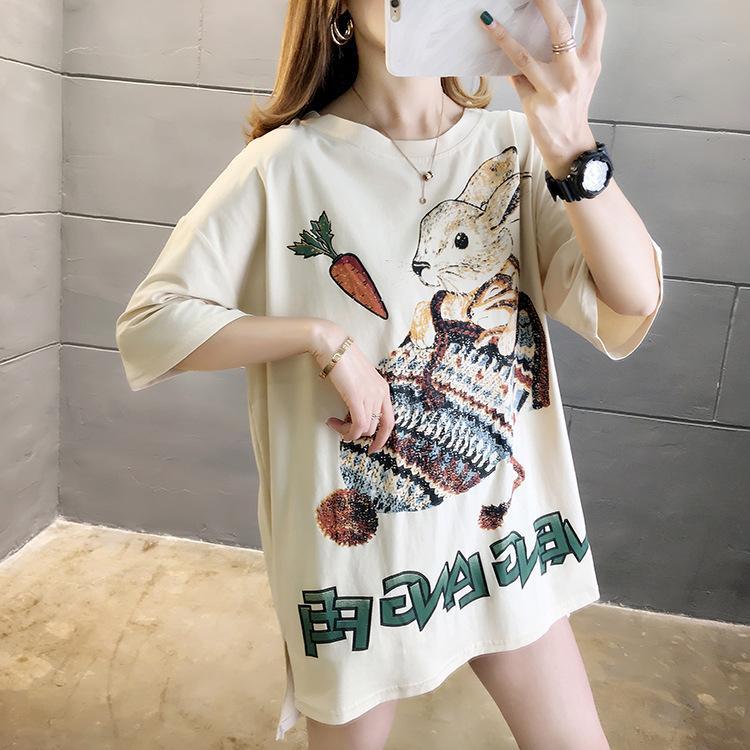Марка Женская Летняя футболка с Cartoon Printed Модельер футболки Симпатичные Женщины Тис 3 цвета Один размер подходит для всех одежды