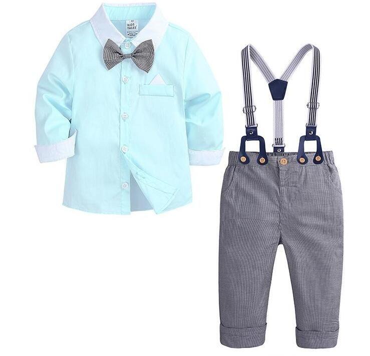 4380 새로운 봄 가을 유아 아기 소년 세트 아이 나비 넥타이 긴 소매 셔츠 + 서스 센더 바지 소년 2pcs 세트 의류 정장 어린이 복장