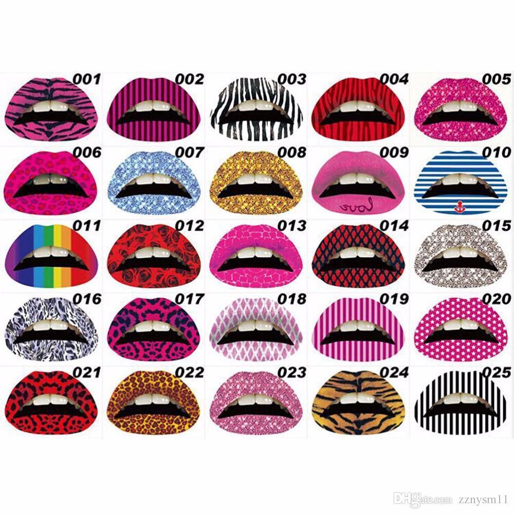 Novo adesivo de lábios de arte 3D Glitter Pink sexy pattern makeup tattoo lip stickers Ferramentas de maquiagem por atacado